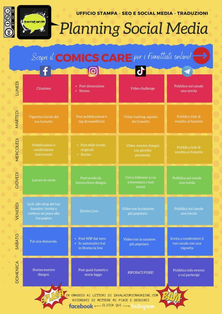 pianifica i social media dei fumetti online